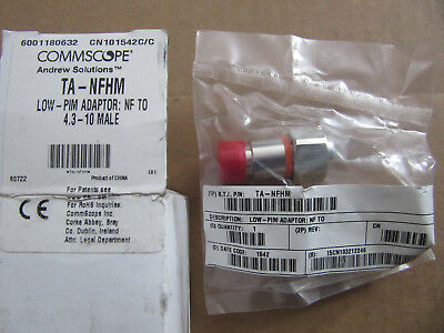 CommScope Andrew TA-NFHM Low-PIM Adapter NF to 4.3 - 10 Male NEW!! Free Shipping