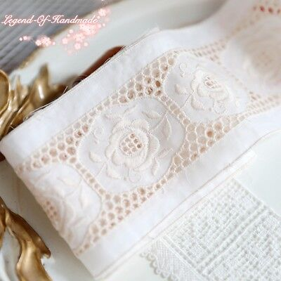 "3""*1Y Embroidered Cotton Lace Trim~Ivory White+Beige~Vintage Roses~Elegant~"