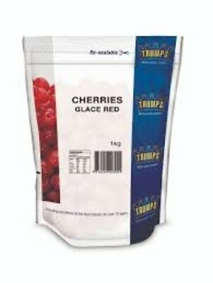 Red Glace Cherries Whole 1kg by Trumps in Resealable Bag - Product of Spain