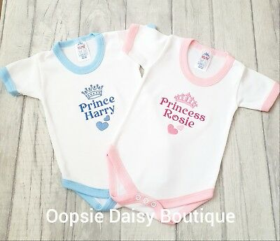Personalised Prince Princess Baby Vest Gro Bodysuit Embroidered Design ☆