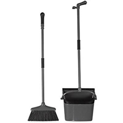 Elliott Long Handled Dustpan & Brush with Comb Catcher Black Cleaning Sweeping