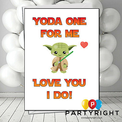 Personalised Funny Star Wars Yoda Valentines Day Card