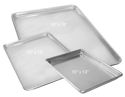 Aluminum Baking Cookie Sheet Bake Pan Quarter Half Full Size 18x26 18x13 10x13