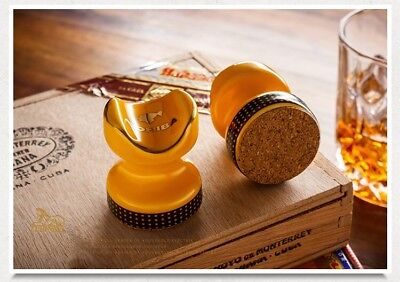 Cohiba Classic Yellow Ceramics Travel Cigar Mini Holder Showing Stand Ashtray
