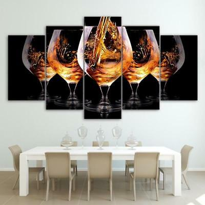 Wine Glasses Collection Party 5 Piece Canvas Art Print Picture Wall Decor