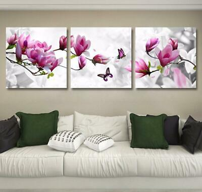 Pink Orchid with Butterfly 3 Piece Canvas Wall Art Picture Painting Home Decor