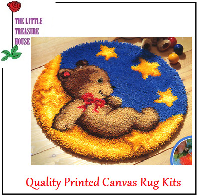 'Teddy on the moon' kids Printed Canvas Latch Hook Rug Kit - Everything included