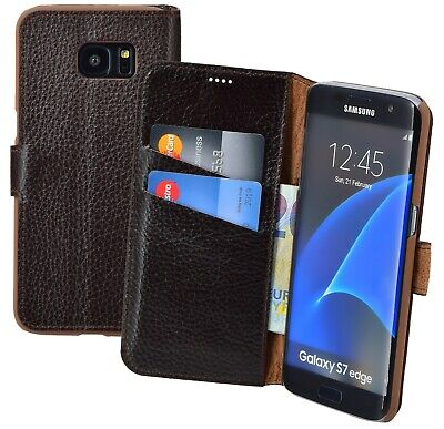 Samsung Galaxy S7 Edge Case Leather Pouch Book Style Cover Wallet Case in Brown