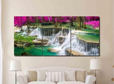 Natural Waterfall Forest 3 Pieces Canvas Wall Art Picture Painting Home Decor