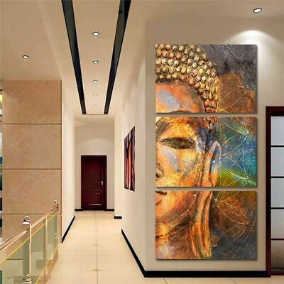 Golden Sumedha Buddha 3 Pieces Canvas Wall Art Picture Painting Home Decor