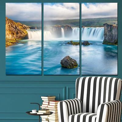 Iceland Waterfall Landscape 3 Pieces Canvas Wall Art Picture Painting Home Decor