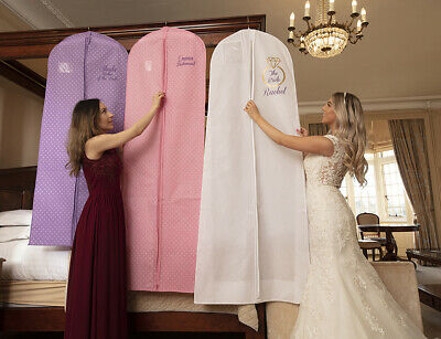 """Hoesh Personalised 72"""" Breathable Bridal Wedding Dress Gown Travel  Cover Bag"""