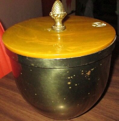 Old Solid Brass Ice Bucket Made In U.s.a. With Lid