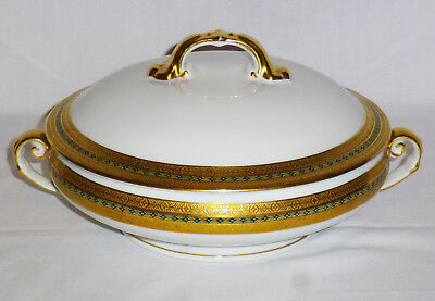 Victoria Czechoslovakia Gold Encrusted Round Covered Vegetable Bowl