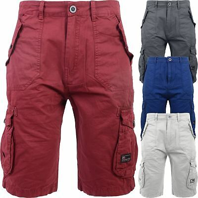 Mens Crosshatch Shorts Combat Cargo Long Knee Length Cotton Casual Twill Summer