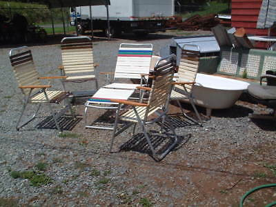 Vintage 1950's 5 Piece Patio set Metal & Wood 4 Chairs and Lounger, Chic Style