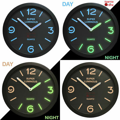 "12"" Glow In The Dark Wall Clock Hanging Bedroom Home Office Quartz Round Black"