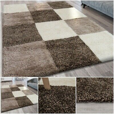 Deep Pile Heavy Living Area Rug Checked Pattern Brown Tones Modern Home Carpet