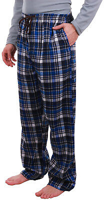 Enimay Men's Flannel Cotton Plaid Pajama Pants w/ Drawstring Button Fly Pockets