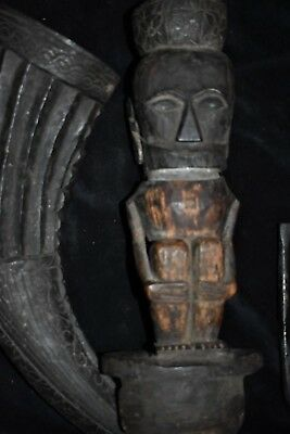 """orig $799. BATAK HUGE HORN SHAMAN CONTAINER, EARLY 1900S 24"""" M. SIMPSON ESTATE"""