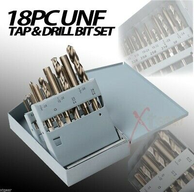 18pc Taps & Drill Bits UNF Professional HSS Construction Metal Work Set