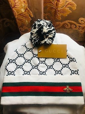 c3d7d0485be New Gucci Luxury White Wool Web Detail Beanie Style Hat One Size Fit All  Unisex