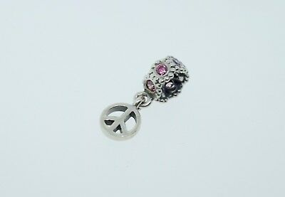 a83831776 AUTHENTIC PANDORA PEACE SIGN Pink CZ Crystal Charm Drop Dangle ...