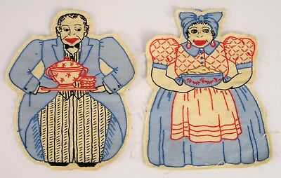 Vintage Hand Embroidered Black Americana Butler & Maid Large Stitched Patches !