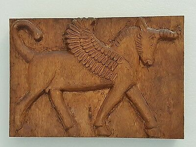 Vintage Hand Carved Wood Persian Achaemenid Style Winged Bull Plaque.