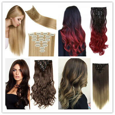Double Weft Clip in Hair Extension Ombre Curly HairPiece Extension Party cosplay