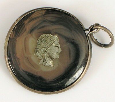 Antique Unique Brown Spiral Glass Pendant With Silver Character Fob Nice !