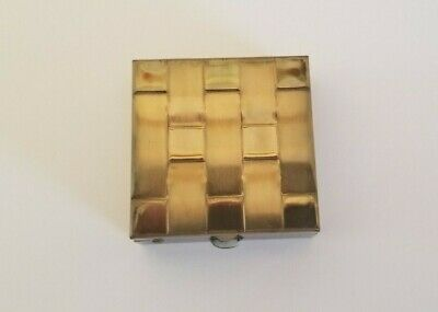 Antique Pill Box Vintage Retro Gold Tone Weave Style 1950's Mid Century
