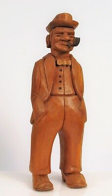 "Vintage Signed Gt Boyle Hand Carved Gentleman Smoking A Pipe About 9"" Tall !"
