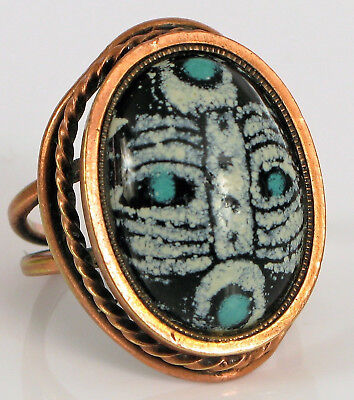 Antique Scarab Glass Stone Ring Geometric Design Eqyptian Revival Rare !!