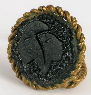 Antique Two Faces Signet Ring Egyptian Revival ? Twisted Brass Adjustable Ring