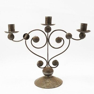 Beautiful Antique Hand Made Mexican Tin Candelabra