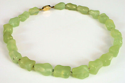 Vintage Chinese Export Green Jade Stone Necklace Ornate Fine Silver Clasp Floral