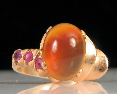 ANTIQUE 14K YELLOW GOLD CARNELIAN GEMSTONE RING WITH TRIPLE PINK RUBIES S6 3.3g