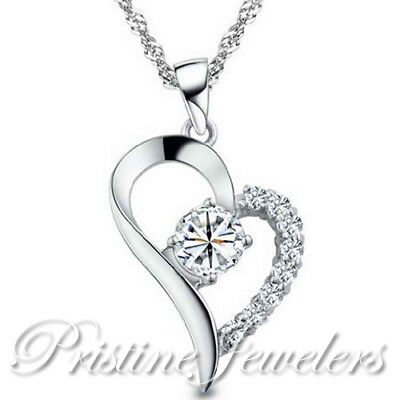 New Women Solid 925 Sterling Silver Love Heart Necklace Pendant & Chain White CZ