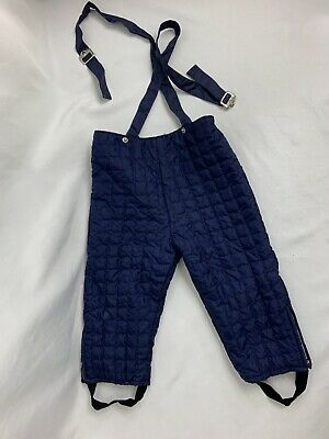 22b230f880c93 Vintage 60s Boys Girls Toddler Size 3 Navy Blue Quilted Ski Snow Pants