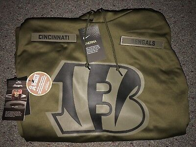 new concept 67560 9df6b CINCINNATI BENGALS SALUTE to Service Therma Fit Hoodie 2018 Nike Military  STS