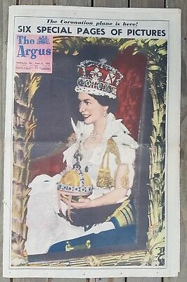 CORONATION Edition of THE ARGUS Sat. June 6th 1953 Full Paper nice clean copy