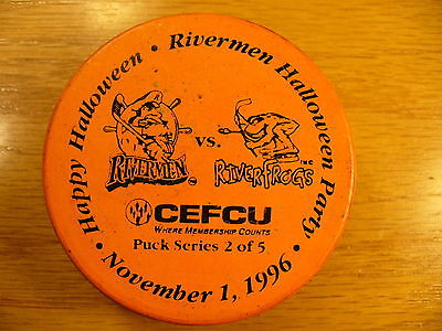 ECHL Peoria Rivermen '96 Halloween Logo Orange SGA Hockey Puck Collect Pucks
