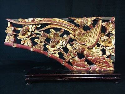 Antique Chinese Carved Wood Wall Panel Polychrome Gilt Phoenix