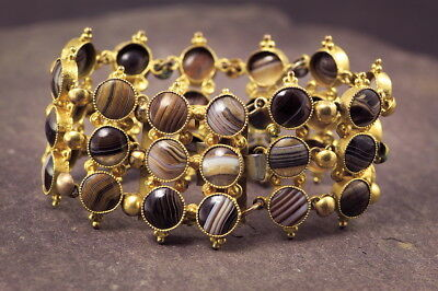 ANTIQUE ENGLISH VICTORIAN ORNATE 3-ROW BANDED AGATE CUFF BRACELET c1860