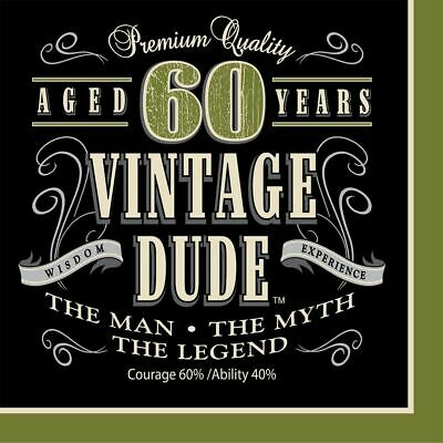 Vintage Dude 60th Luncheon Napkins 16 Pack