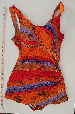 Vintage Tropical Swimsuit Bathing Suit One-Piece Size 12 Colorful Print. Hot!