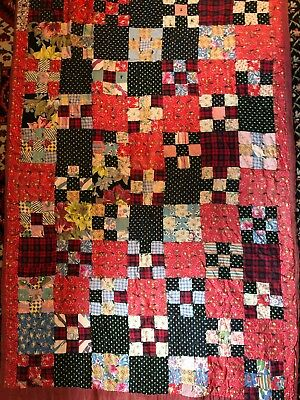 "Vtg Handmade Quilt 49""x76-1/2"" Hand Tied Feed Sack? Use or cutter"
