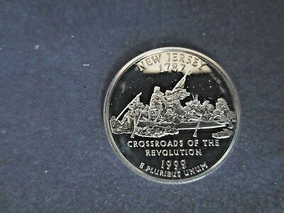1999 - S SILVER New Jersey Quarter  Mirror Proof SOME CARBON ON REVERSE