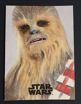 2017 Topps Star Wars The Last Jedi Full Color Chewbacca Sketch Card By Lee Brown
